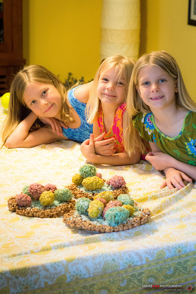 Ari, Taya, Taryn with Easter Eggs