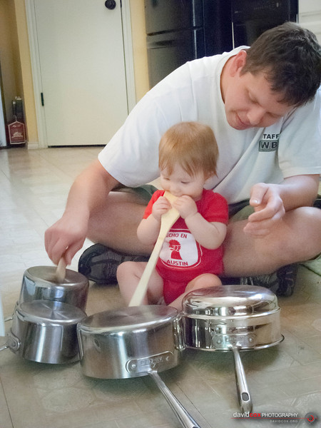 Madeline and Dad on the drums