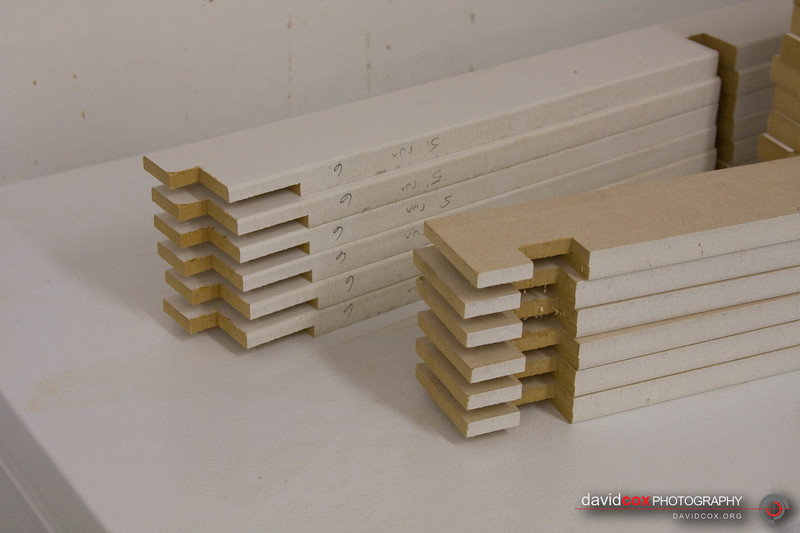 prepared MDF pieces to create 3D torsion box for stacking cabinets