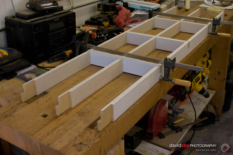 Bottom construction of MDF 3d torsion box. There are 3 horizontal runners and 5 front-to-back runners.