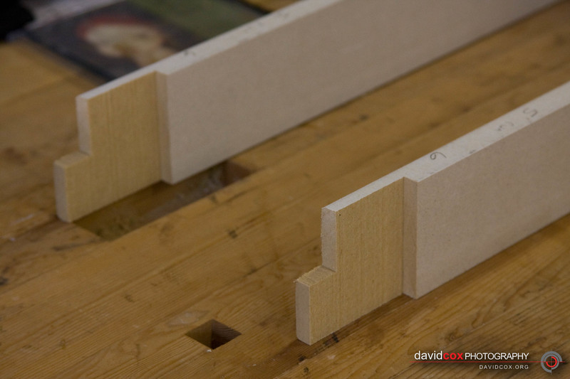 Detail of half-lap joint for 3d MDF torsion box for stacking cabinets